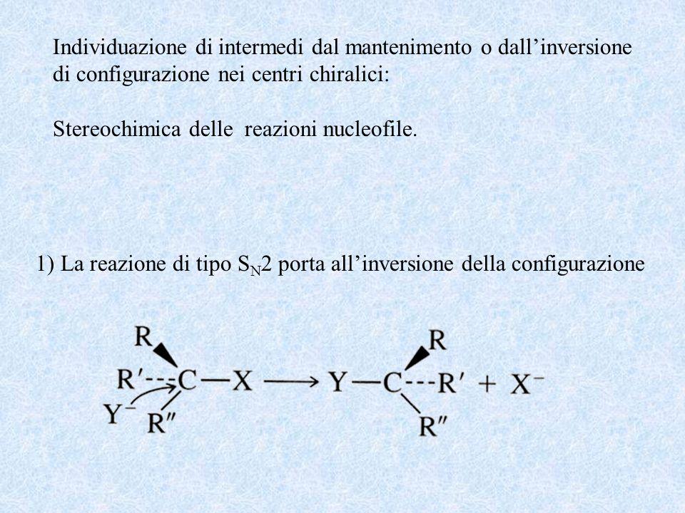 Individuazione di intermedi dal mantenimento o dallinversione di configurazione nei centri chiralici: Stereochimica delle reazioni nucleofile. 1) La r