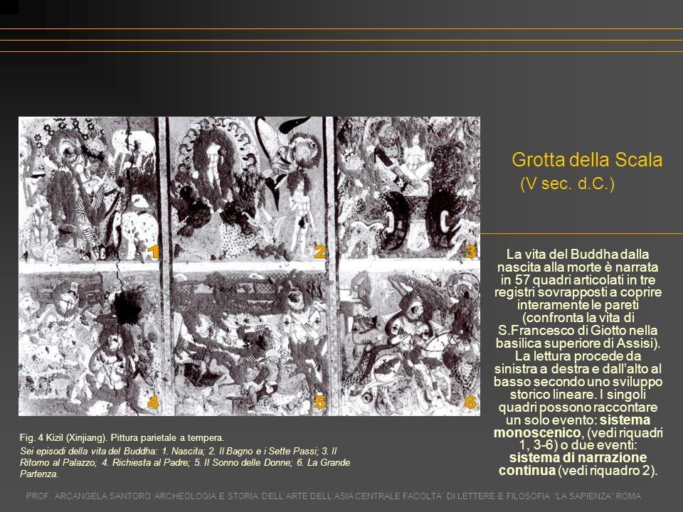La vita del Buddha dalla nascita alla morte è narrata in 57 quadri articolati in tre registri sovrapposti a coprire interamente le pareti (confronta l