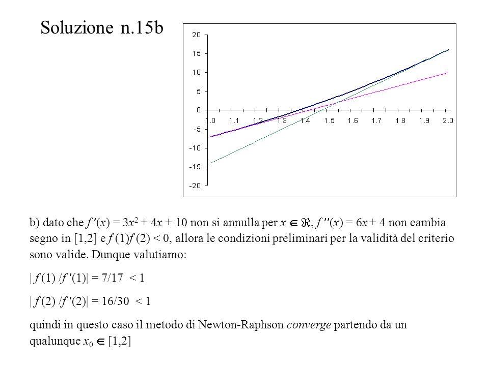 Soluzione n.15b b) dato che f (x) = 3x 2 + 4x + 10 non si annulla per x, f (x) = 6x + 4 non cambia segno in [1,2] e f (1)f (2) < 0, allora le condizioni preliminari per la validità del criterio sono valide.