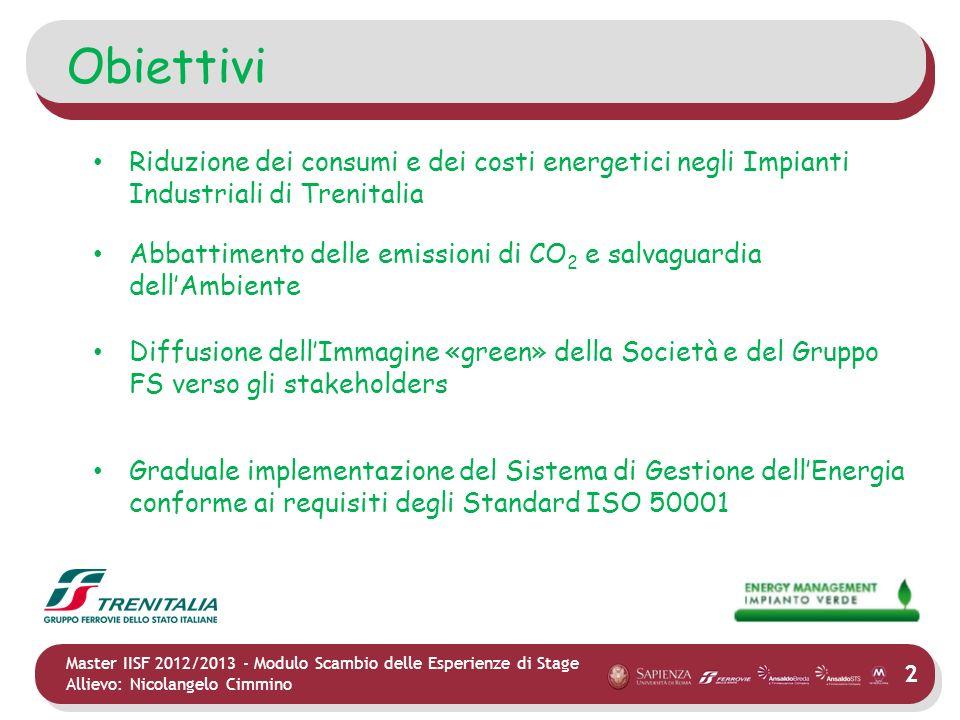 2 Master IISF 2012/2013 - Modulo Scambio delle Esperienze di Stage Allievo: Nicolangelo Cimmino Obiettivi Riduzione dei consumi e dei costi energetici