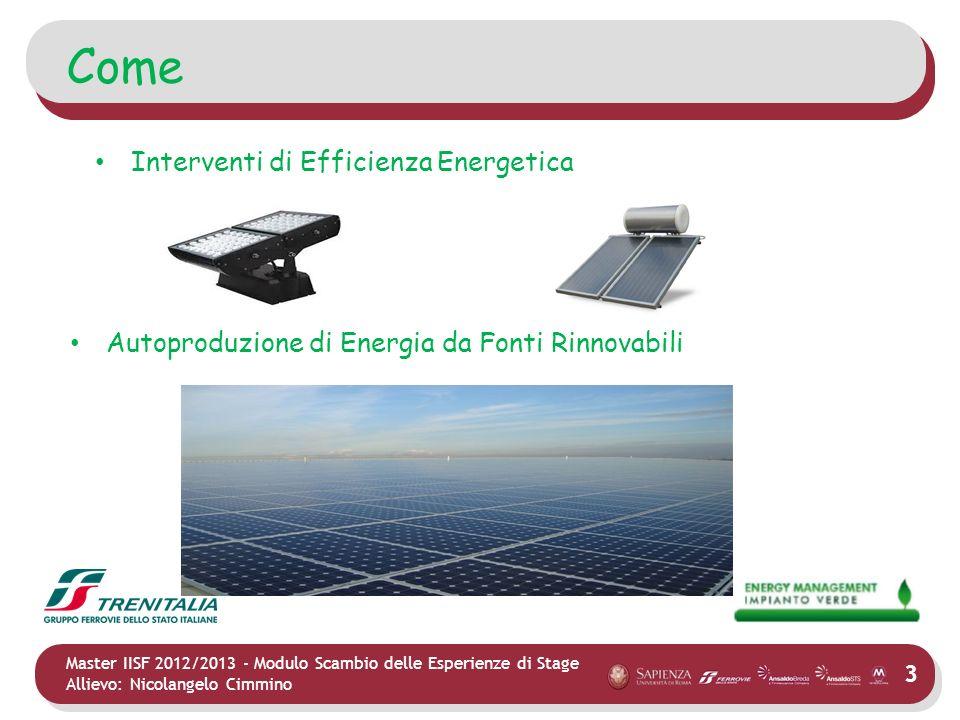 3 Master IISF 2012/2013 - Modulo Scambio delle Esperienze di Stage Allievo: Nicolangelo Cimmino Come Interventi di Efficienza Energetica Autoproduzion