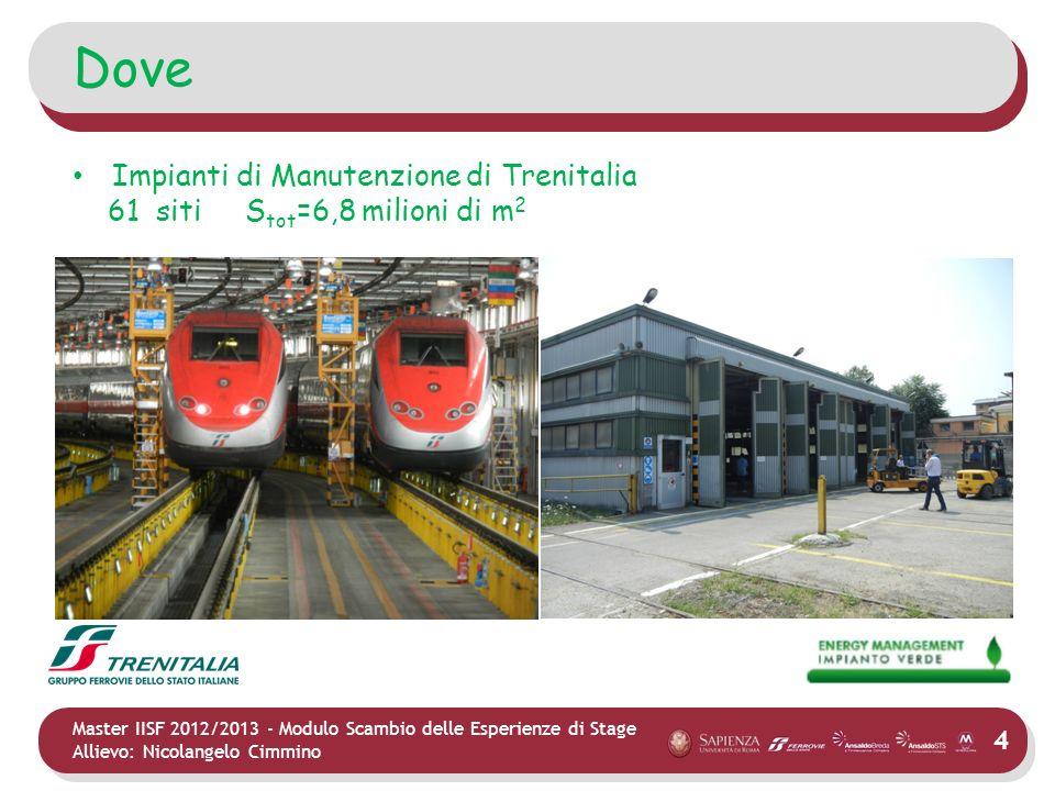 4 Master IISF 2012/2013 - Modulo Scambio delle Esperienze di Stage Allievo: Nicolangelo Cimmino Dove Impianti di Manutenzione di Trenitalia 61 siti S