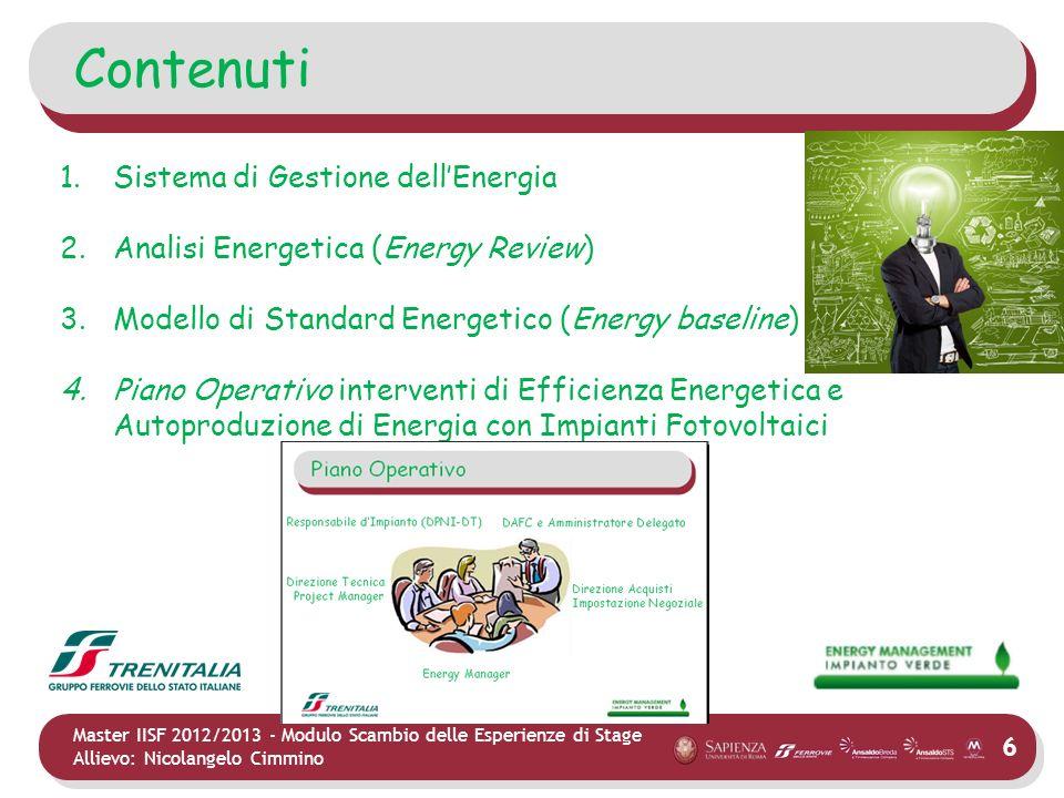 6 Master IISF 2012/2013 - Modulo Scambio delle Esperienze di Stage Allievo: Nicolangelo Cimmino Contenuti 1.Sistema di Gestione dellEnergia 2.Analisi