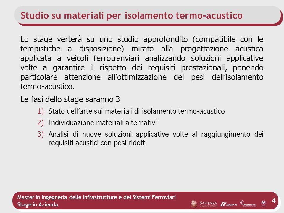 Master in Ingegneria delle Infrastrutture e dei Sistemi Ferroviari Stage in Azienda 4 Studio su materiali per isolamento termo-acustico Lo stage verte