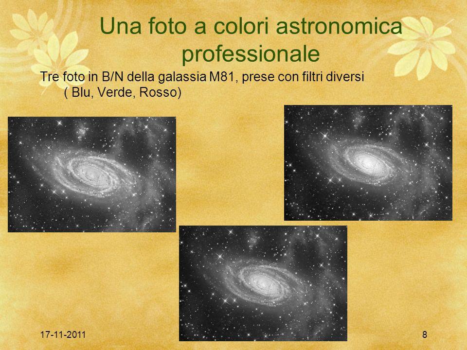 17-11-2011colori elettronici8 Una foto a colori astronomica professionale Tre foto in B/N della galassia M81, prese con filtri diversi ( Blu, Verde, R