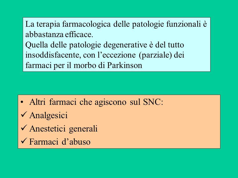 Altri farmaci che agiscono sul SNC: Analgesici Anestetici generali Farmaci dabuso La terapia farmacologica delle patologie funzionali è abbastanza eff