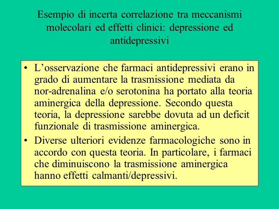 Esempio di incerta correlazione tra meccanismi molecolari ed effetti clinici: depressione ed antidepressivi Losservazione che farmaci antidepressivi e