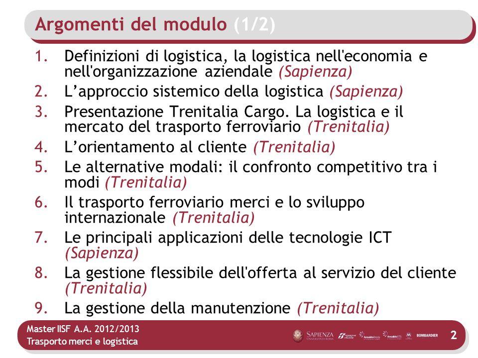 Master IISF A.A. 2012/2013 Trasporto merci e logistica Argomenti del modulo (1/2) 1.Definizioni di logistica, la logistica nell'economia e nell'organi