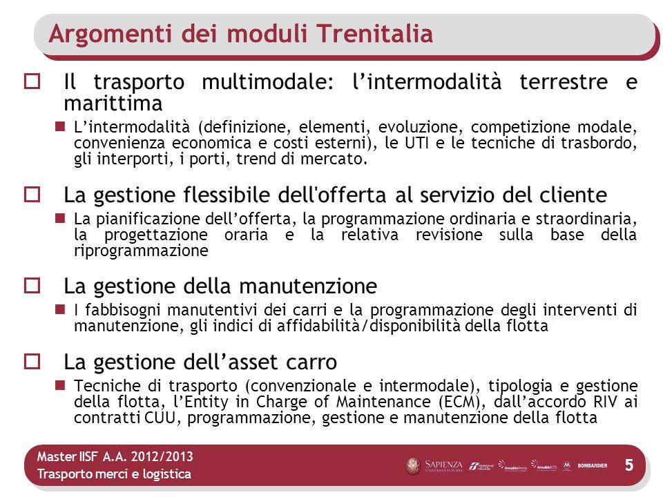 Master IISF A.A. 2012/2013 Trasporto merci e logistica Argomenti dei moduli Trenitalia Il trasporto multimodale: lintermodalità terrestre e marittima