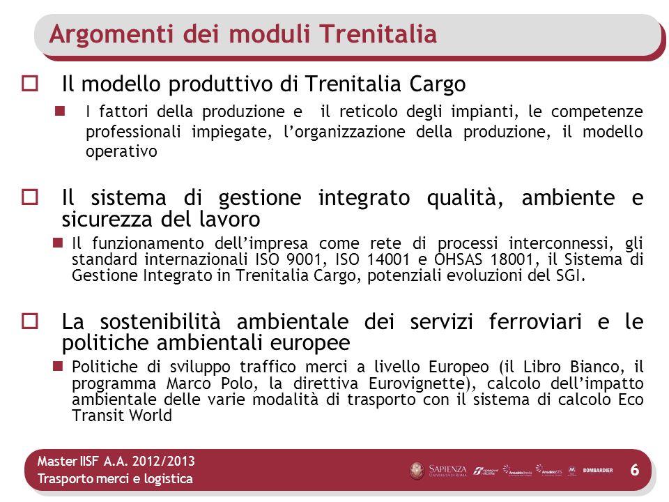Master IISF A.A. 2012/2013 Trasporto merci e logistica Argomenti dei moduli Trenitalia Il modello produttivo di Trenitalia Cargo I fattori della produ