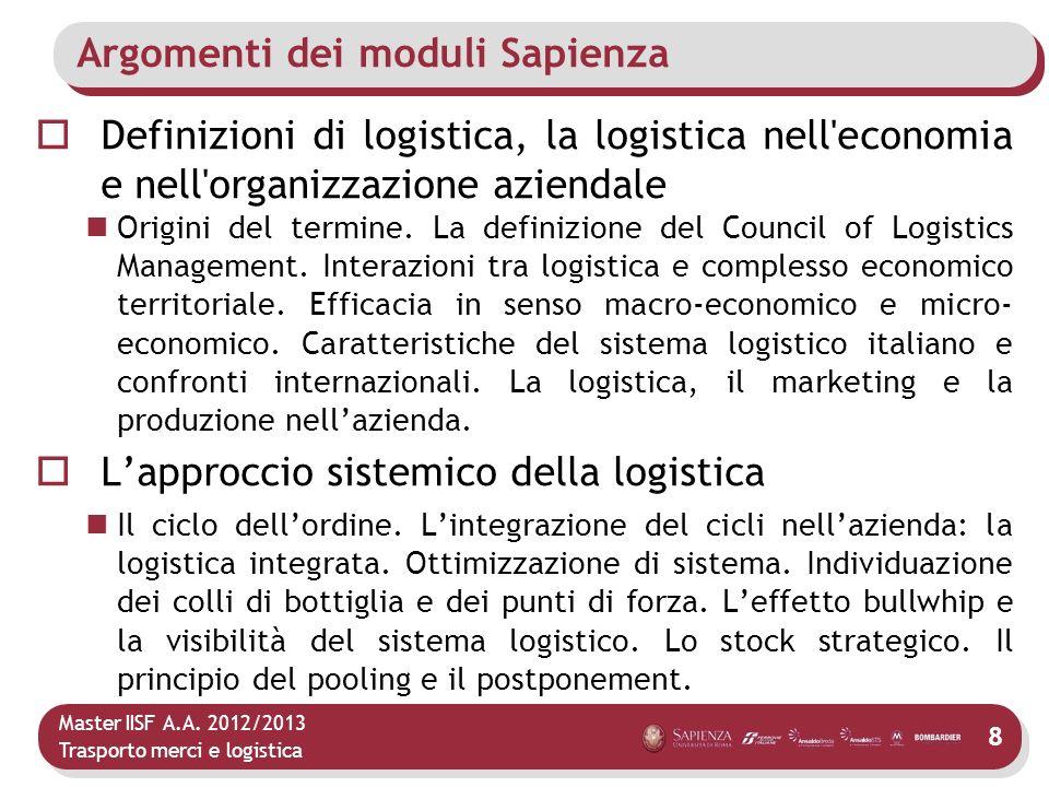 Master IISF A.A. 2012/2013 Trasporto merci e logistica Argomenti dei moduli Sapienza Definizioni di logistica, la logistica nell'economia e nell'organ