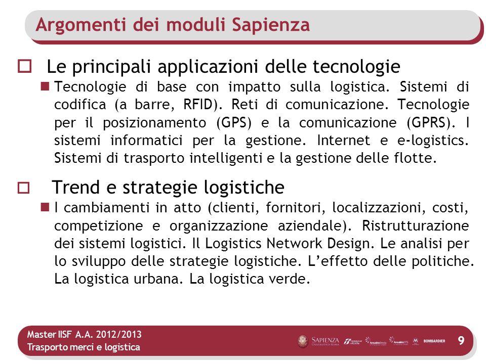 Master IISF A.A. 2012/2013 Trasporto merci e logistica Argomenti dei moduli Sapienza Le principali applicazioni delle tecnologie Tecnologie di base co