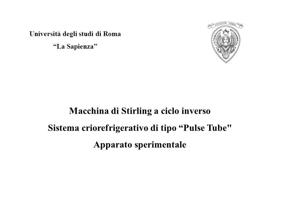Università degli studi di Roma La Sapienza Macchina di Stirling a ciclo inverso Sistema criorefrigerativo di tipo Pulse Tube