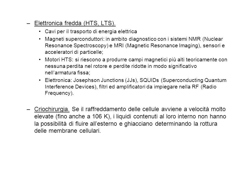 –Elettronica fredda (HTS, LTS). Cavi per il trasporto di energia elettrica Magneti superconduttori: in ambito diagnostico con i sistemi NMR (Nuclear R