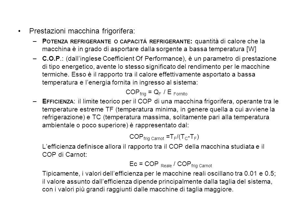 Prestazioni macchina frigorifera: –P OTENZA REFRIGERANTE O CAPACITÀ REFRIGERANTE : quantità di calore che la macchina è in grado di asportare dalla so