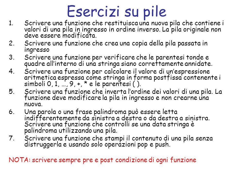 Definizione di pila struct nodo_pila { tipo_elemento el; struct nodo_pila *next; }; struct pila { struct nodo_pila *top; }; dove tipo_elemento codifica il tipo di ogni elemento della pila.