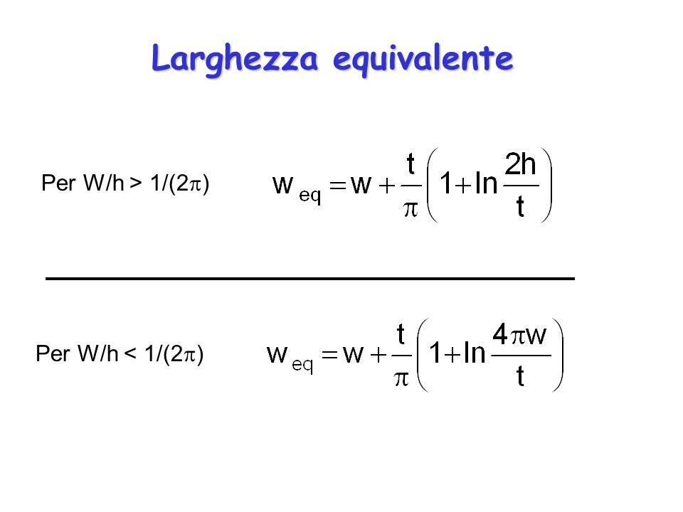 Larghezza equivalente Per W/h > 1/(2 ) Per W/h < 1/(2 )