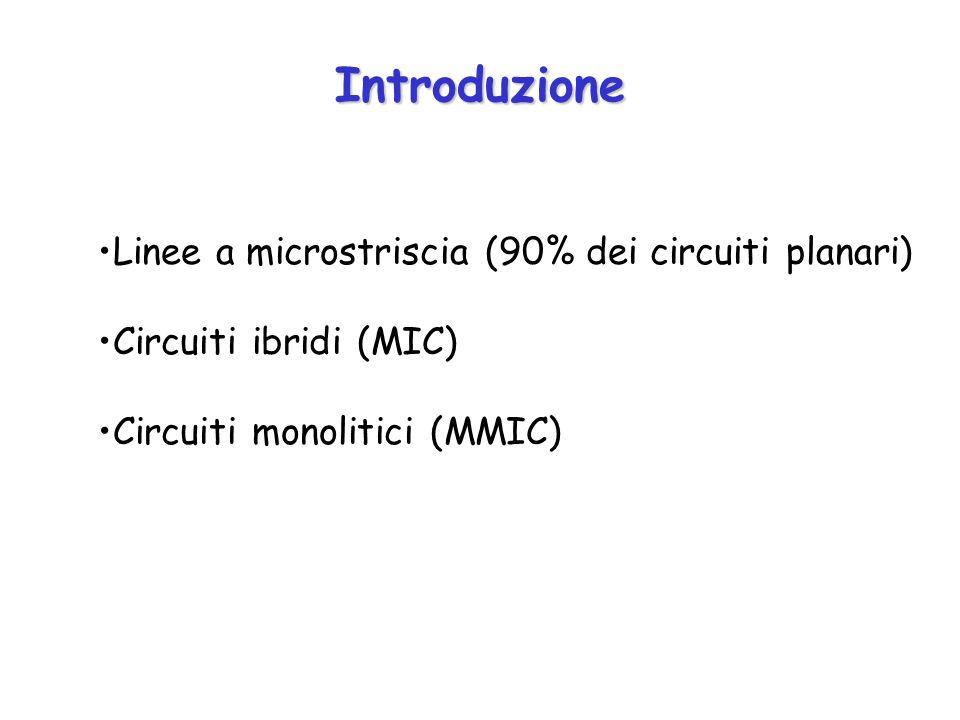 Introduzione Linee a microstriscia (90% dei circuiti planari) Circuiti ibridi (MIC) Circuiti monolitici (MMIC)