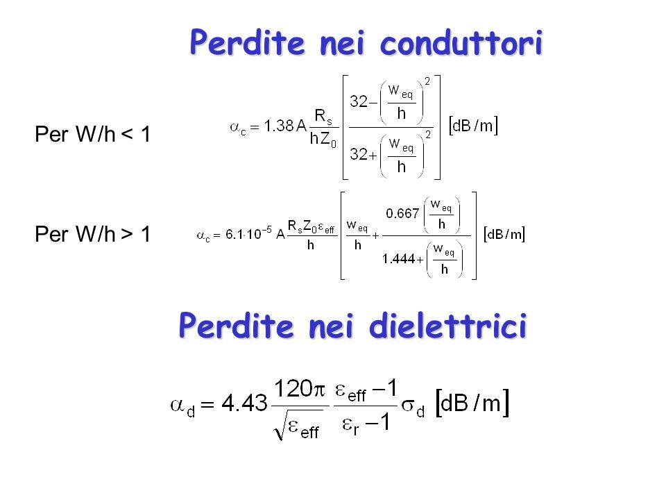 Perdite nei conduttori Perdite nei dielettrici Per W/h < 1 Per W/h > 1