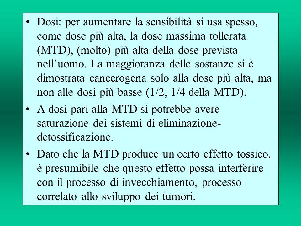 Dosi: per aumentare la sensibilità si usa spesso, come dose più alta, la dose massima tollerata (MTD), (molto) più alta della dose prevista nelluomo.