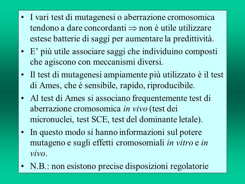 I vari test di mutagenesi o aberrazione cromosomica tendono a dare concordanti non è utile utilizzare estese batterie di saggi per aumentare la predit