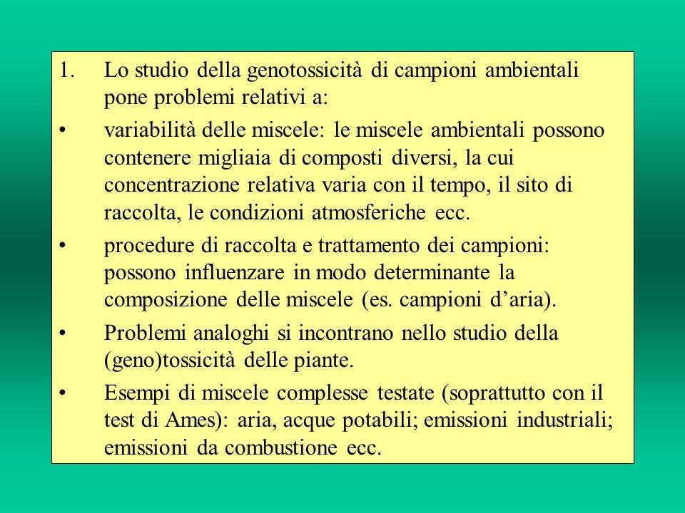 1.Lo studio della genotossicità di campioni ambientali pone problemi relativi a: variabilità delle miscele: le miscele ambientali possono contenere mi