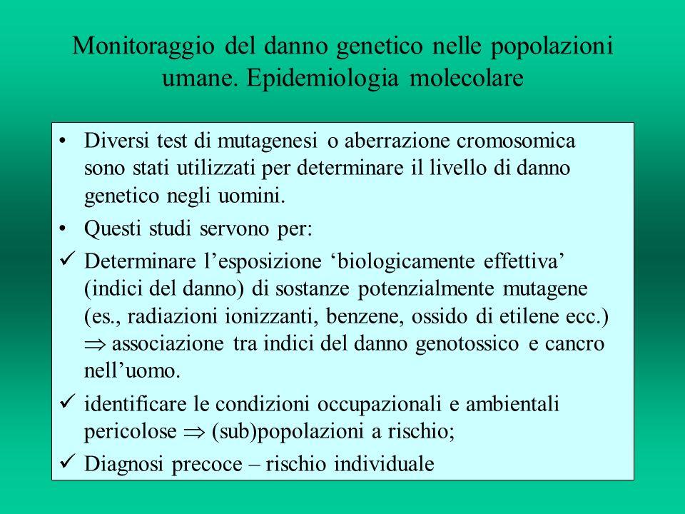 Monitoraggio del danno genetico nelle popolazioni umane. Epidemiologia molecolare Diversi test di mutagenesi o aberrazione cromosomica sono stati util