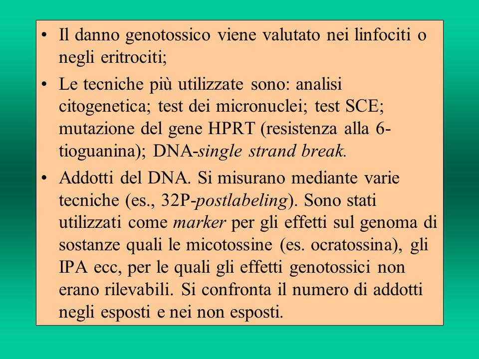 Il danno genotossico viene valutato nei linfociti o negli eritrociti; Le tecniche più utilizzate sono: analisi citogenetica; test dei micronuclei; tes