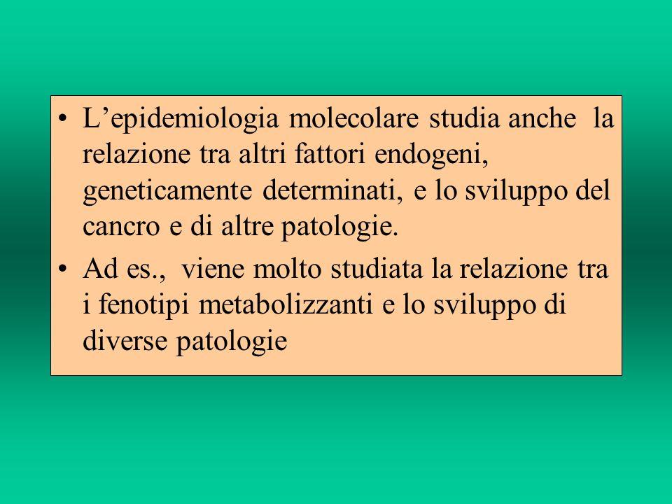 Lepidemiologia molecolare studia anche la relazione tra altri fattori endogeni, geneticamente determinati, e lo sviluppo del cancro e di altre patolog