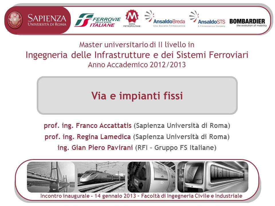 Master universitario di II livello in Ingegneria delle Infrastrutture e dei Sistemi Ferroviari Anno Accademico 2012/2013 Via e impianti fissi Incontro