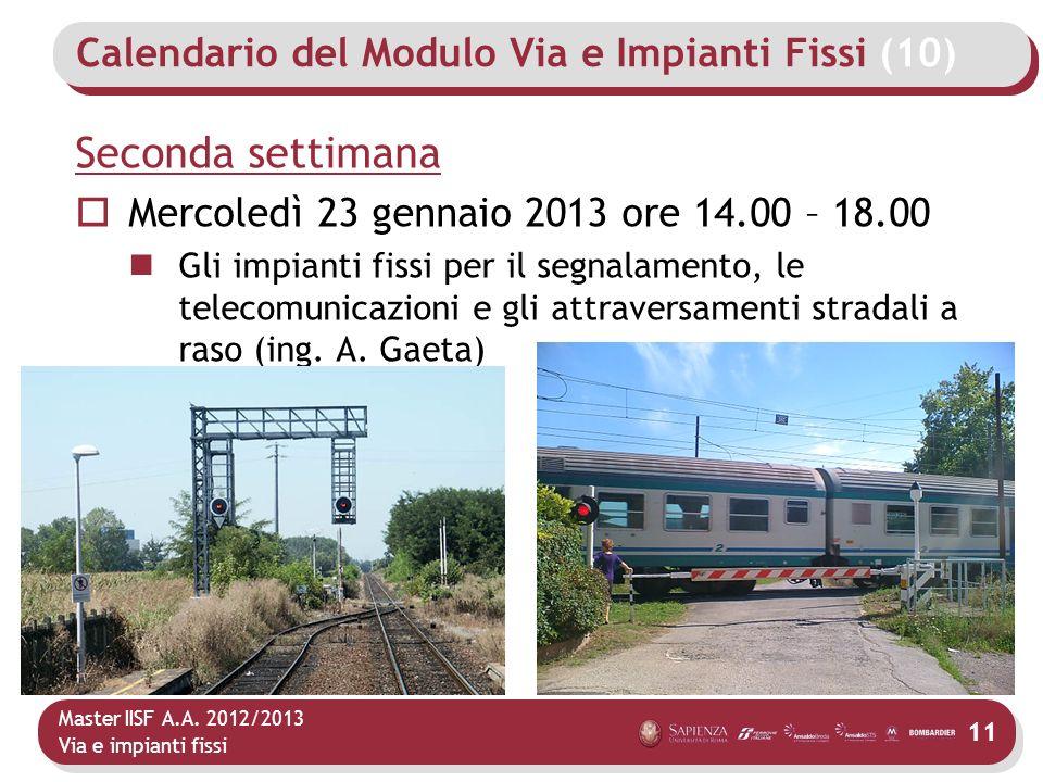 Master IISF A.A. 2012/2013 Via e impianti fissi Calendario del Modulo Via e Impianti Fissi (10) Seconda settimana Mercoledì 23 gennaio 2013 ore 14.00