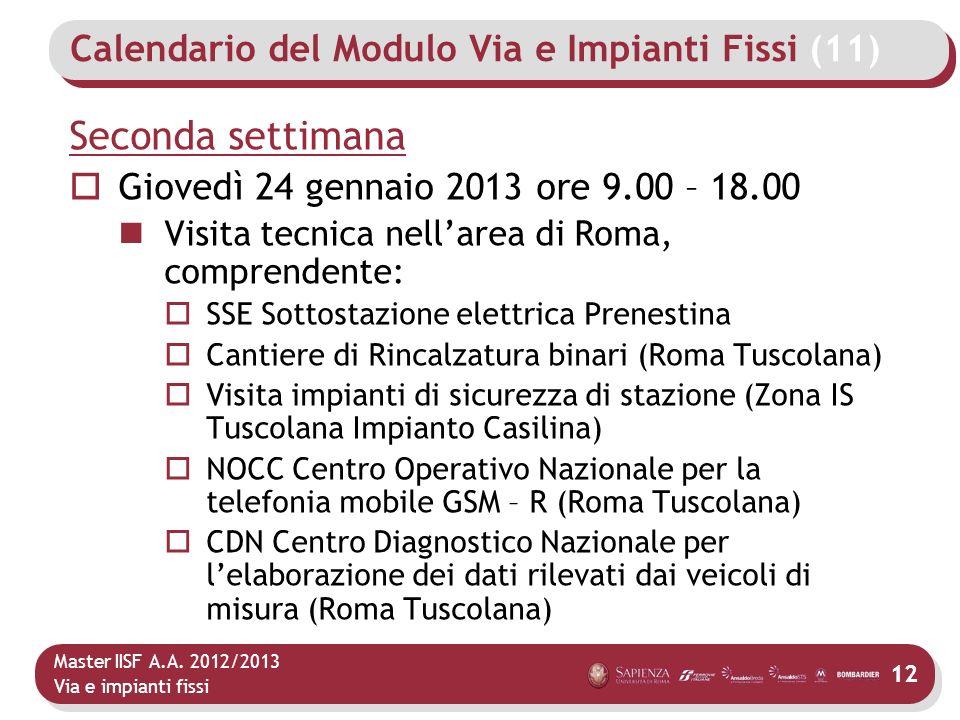 Master IISF A.A. 2012/2013 Via e impianti fissi Calendario del Modulo Via e Impianti Fissi (11) Seconda settimana Giovedì 24 gennaio 2013 ore 9.00 – 1