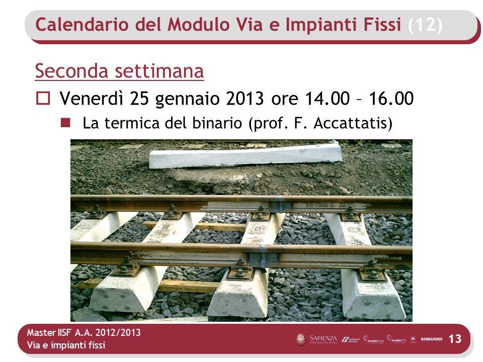 Master IISF A.A. 2012/2013 Via e impianti fissi Calendario del Modulo Via e Impianti Fissi (12) Seconda settimana Venerdì 25 gennaio 2013 ore 14.00 –