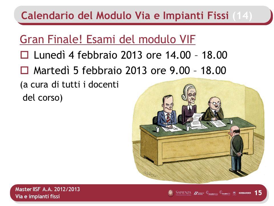 Master IISF A.A. 2012/2013 Via e impianti fissi Calendario del Modulo Via e Impianti Fissi (14) 15 Gran Finale! Esami del modulo VIF Lunedì 4 febbraio