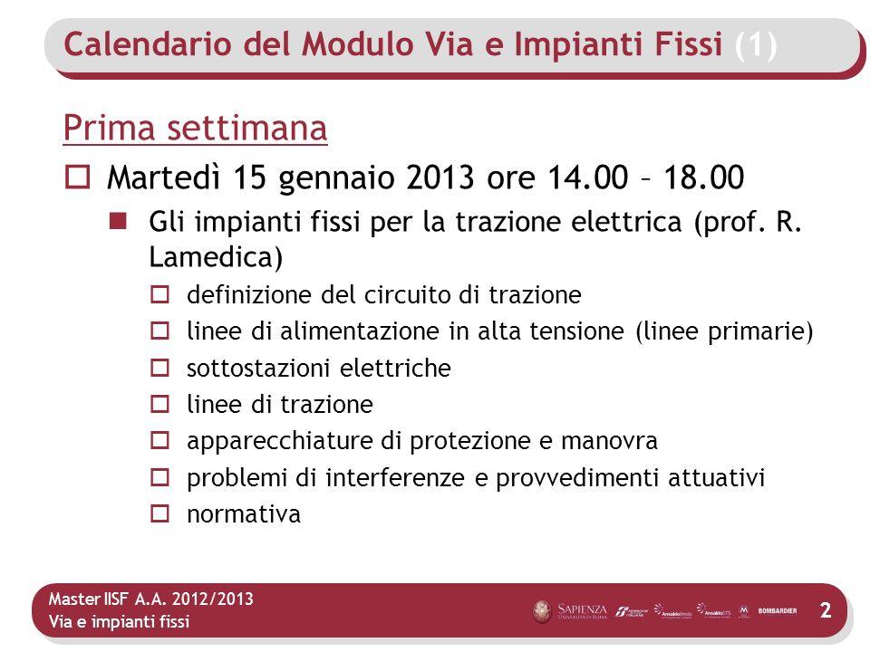 Master IISF A.A. 2012/2013 Via e impianti fissi Calendario del Modulo Via e Impianti Fissi (1) Prima settimana Martedì 15 gennaio 2013 ore 14.00 – 18.