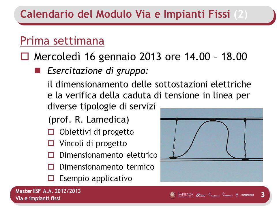 Master IISF A.A. 2012/2013 Via e impianti fissi Calendario del Modulo Via e Impianti Fissi (2) Prima settimana Mercoledì 16 gennaio 2013 ore 14.00 – 1