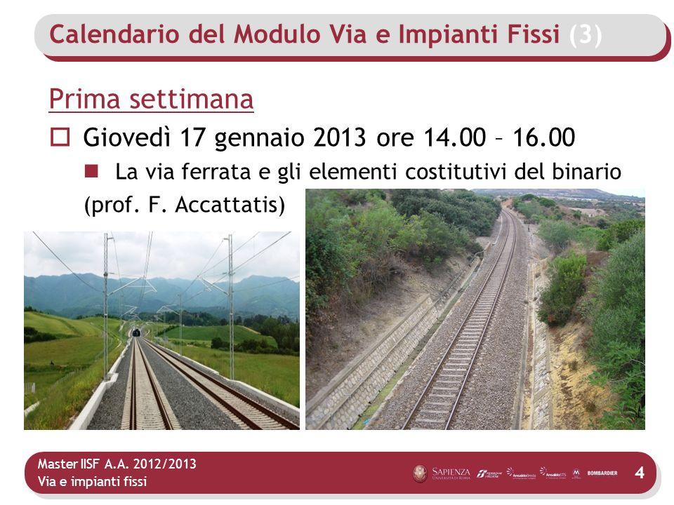 Master IISF A.A. 2012/2013 Via e impianti fissi Calendario del Modulo Via e Impianti Fissi (3) Prima settimana Giovedì 17 gennaio 2013 ore 14.00 – 16.