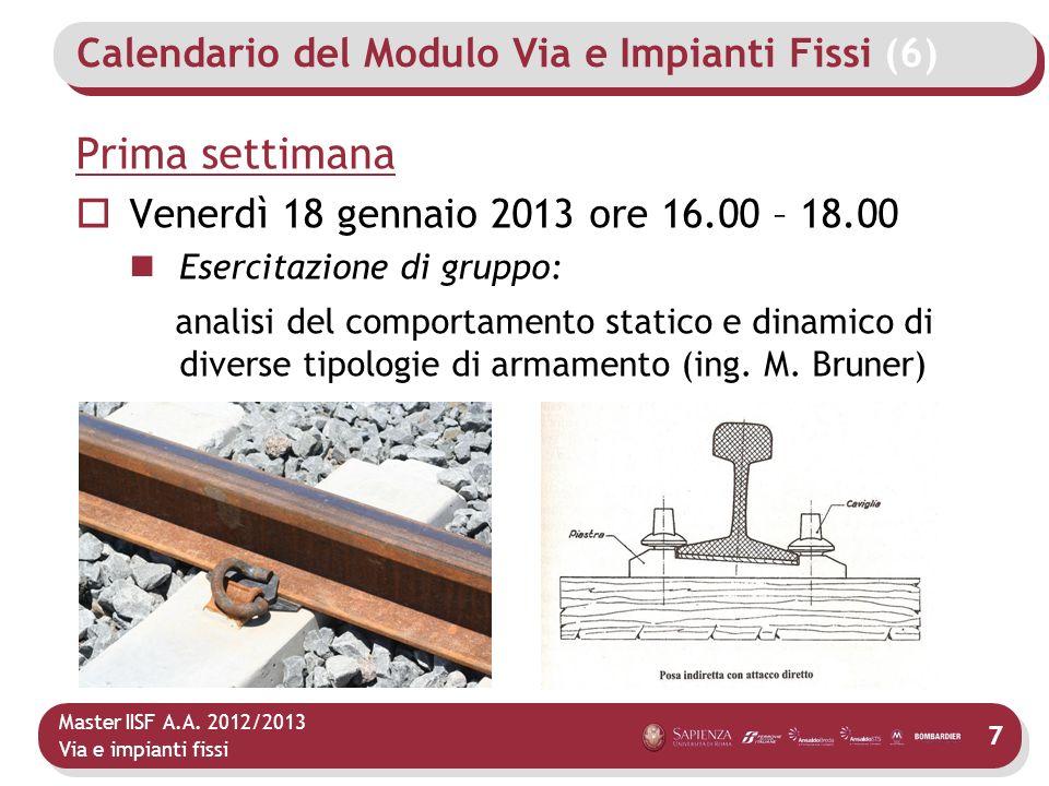 Master IISF A.A. 2012/2013 Via e impianti fissi Calendario del Modulo Via e Impianti Fissi (6) Prima settimana Venerdì 18 gennaio 2013 ore 16.00 – 18.