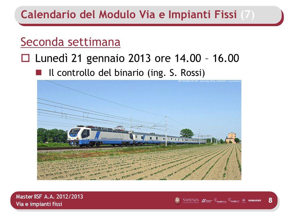 Master IISF A.A. 2012/2013 Via e impianti fissi Calendario del Modulo Via e Impianti Fissi (7) Seconda settimana Lunedì 21 gennaio 2013 ore 14.00 – 16