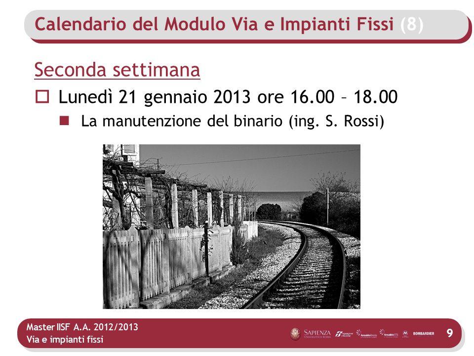 Master IISF A.A. 2012/2013 Via e impianti fissi Calendario del Modulo Via e Impianti Fissi (8) Seconda settimana Lunedì 21 gennaio 2013 ore 16.00 – 18