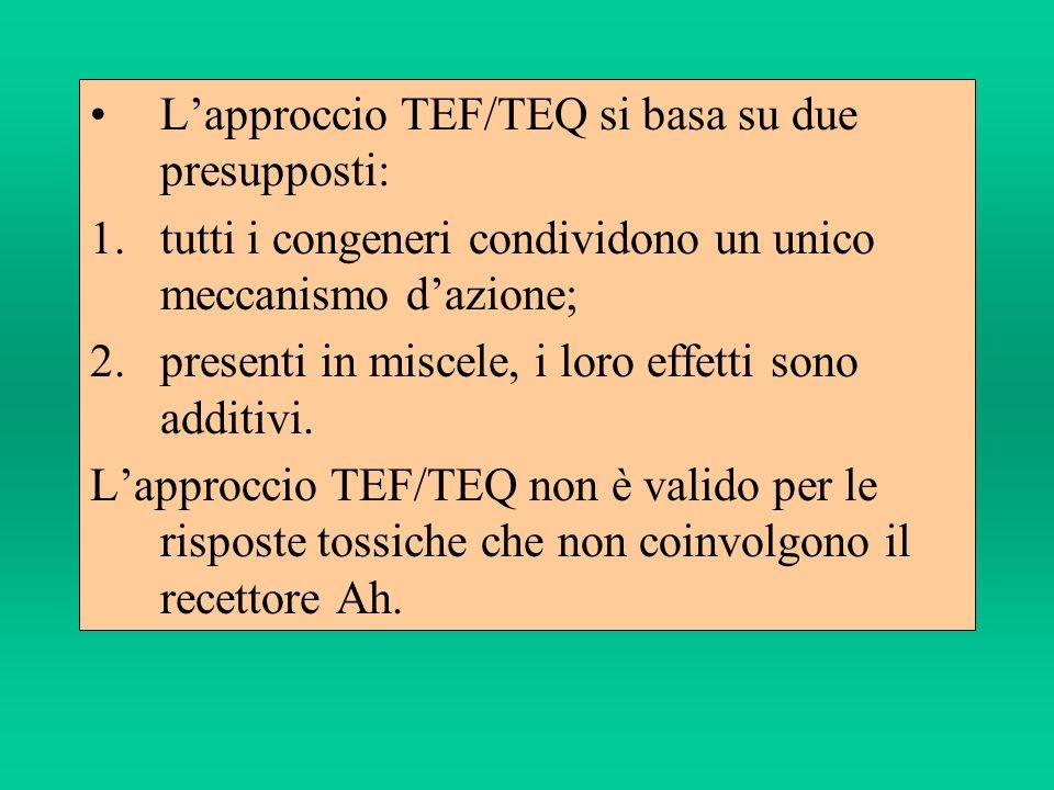 Lapproccio TEF/TEQ si basa su due presupposti: 1.tutti i congeneri condividono un unico meccanismo dazione; 2.presenti in miscele, i loro effetti sono