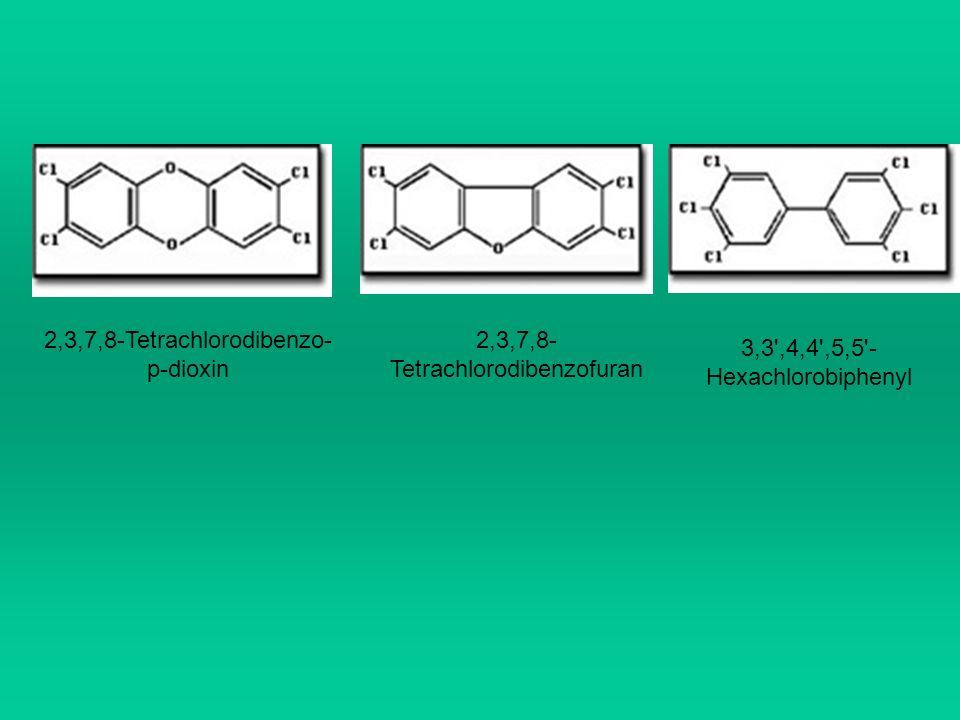 2,3,7,8-Tetrachlorodibenzo- p-dioxin 2,3,7,8- Tetrachlorodibenzofuran 3,3',4,4',5,5'- Hexachlorobiphenyl