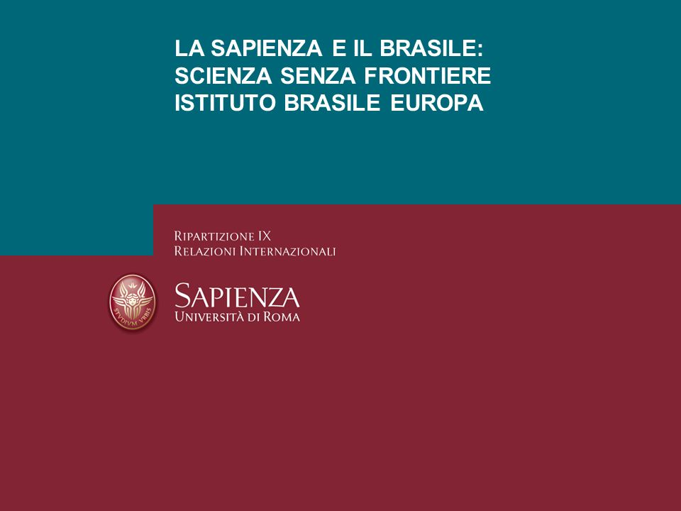 LA SAPIENZA E IL BRASILE: SCIENZA SENZA FRONTIERE ISTITUTO BRASILE EUROPA