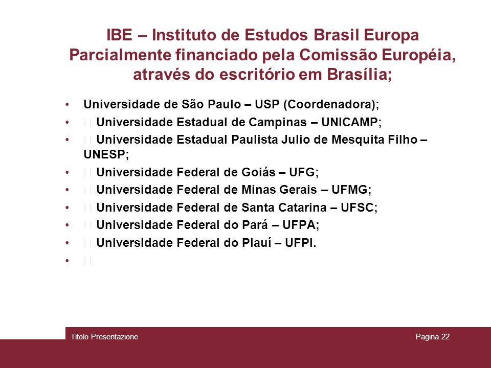 IBE – Instituto de Estudos Brasil Europa Parcialmente financiado pela Comissão Européia, através do escritório em Brasília; Universidade de São Paulo