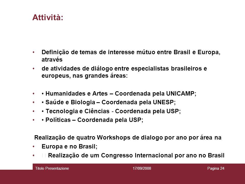 Attività: Definição de temas de interesse mútuo entre Brasil e Europa, através de atividades de diálogo entre especialistas brasileiros e europeus, na