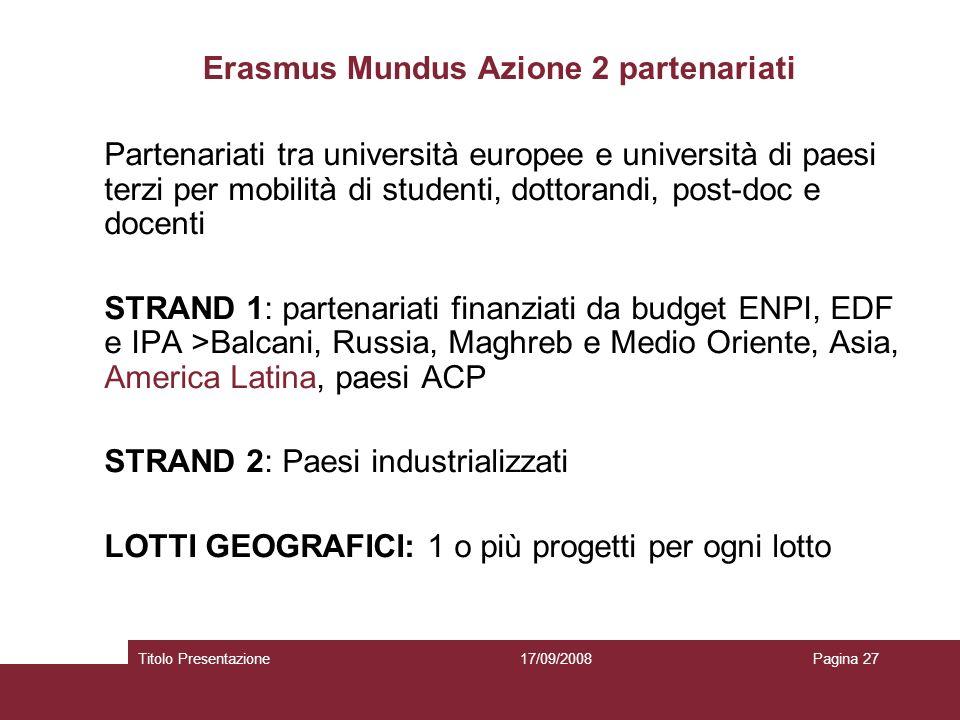 17/09/2008Titolo PresentazionePagina 27 Erasmus Mundus Azione 2 partenariati Partenariati tra università europee e università di paesi terzi per mobil