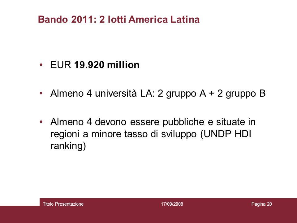 Bando 2011: 2 lotti America Latina EUR 19.920 million Almeno 4 università LA: 2 gruppo A + 2 gruppo B Almeno 4 devono essere pubbliche e situate in regioni a minore tasso di sviluppo (UNDP HDI ranking) 17/09/2008Titolo PresentazionePagina 28