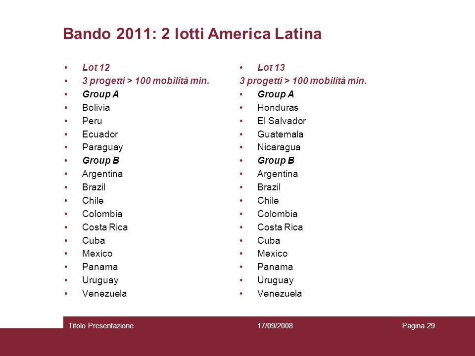 Bando 2011: 2 lotti America Latina Lot 12 3 progetti > 100 mobilità min. Group A Bolivia Peru Ecuador Paraguay Group B Argentina Brazil Chile Colombia