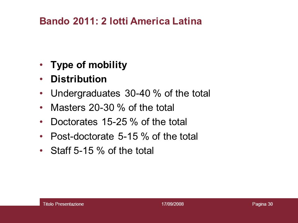 Bando 2011: 2 lotti America Latina Type of mobility Distribution Undergraduates 30-40 % of the total Masters 20-30 % of the total Doctorates 15-25 % o