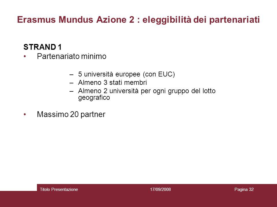 17/09/2008Titolo PresentazionePagina 32 Erasmus Mundus Azione 2 : eleggibilità dei partenariati STRAND 1 Partenariato minimo –5 università europee (con EUC) –Almeno 3 stati membri –Almeno 2 università per ogni gruppo del lotto geografico Massimo 20 partner